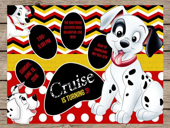 101 Dalmatians Invitation Dalmatians Birthday Invitation 101