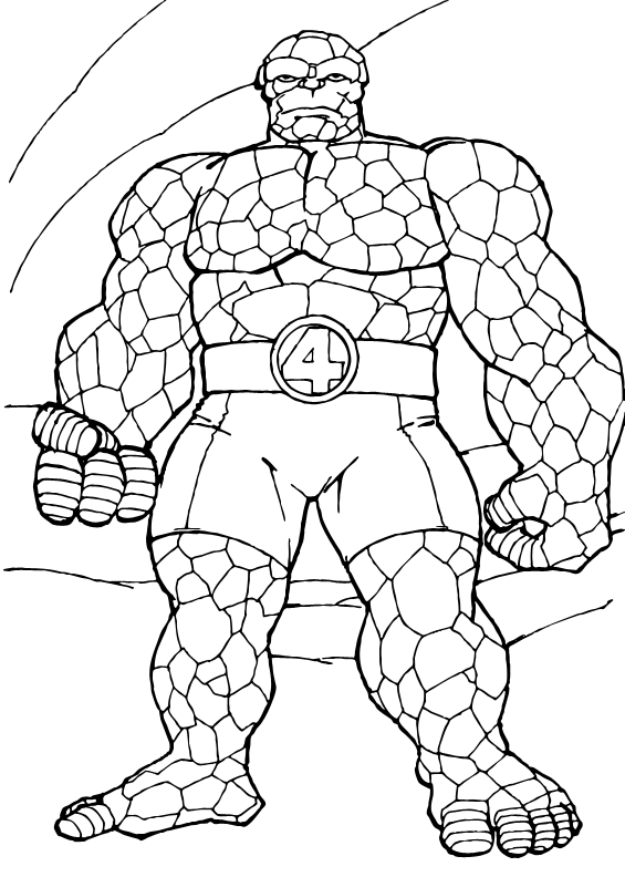 coloring page of the things rock muscle. a drawing of the