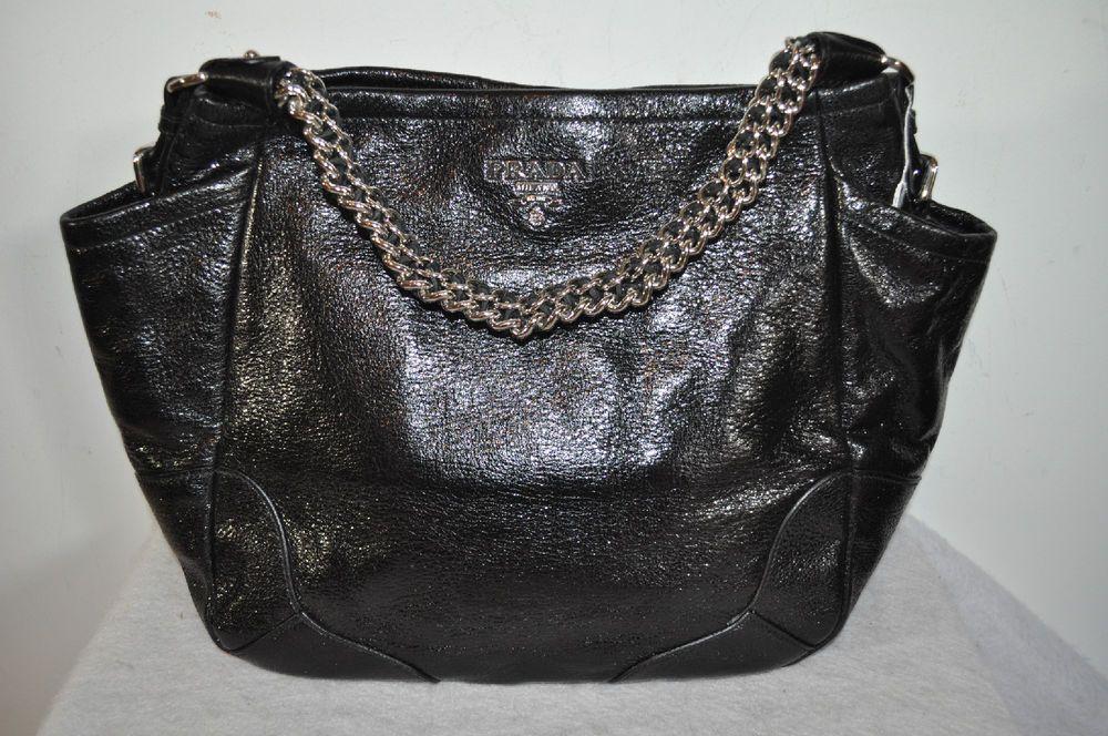 288e6058b10fad PRADA cervo Lux black deerskin leather purse silver chain strap #PRADA  #TotesShoppers