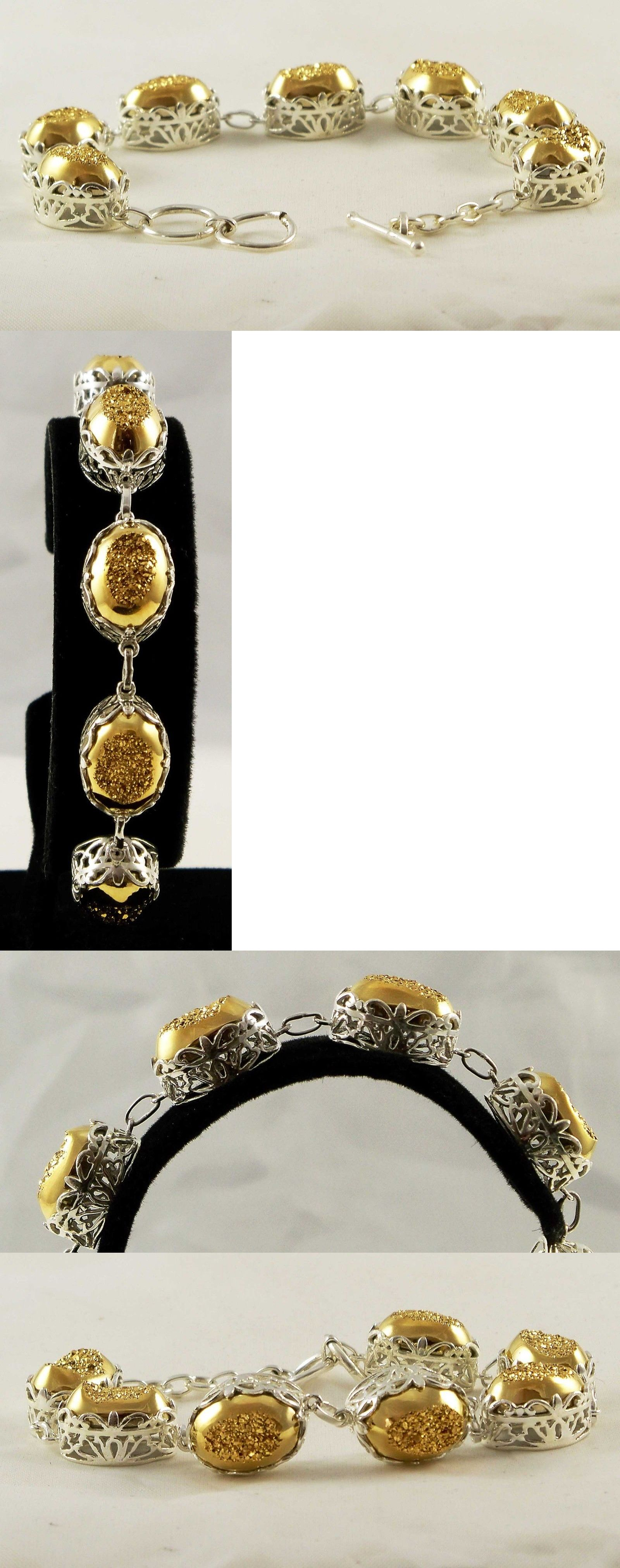 Gemstone 164315: Genuine Gold Drusy Quartz Bracelet 925 Sterling Silver Tcw 36.54 Toggle 7-7.5 BUY IT NOW ONLY: $98.5