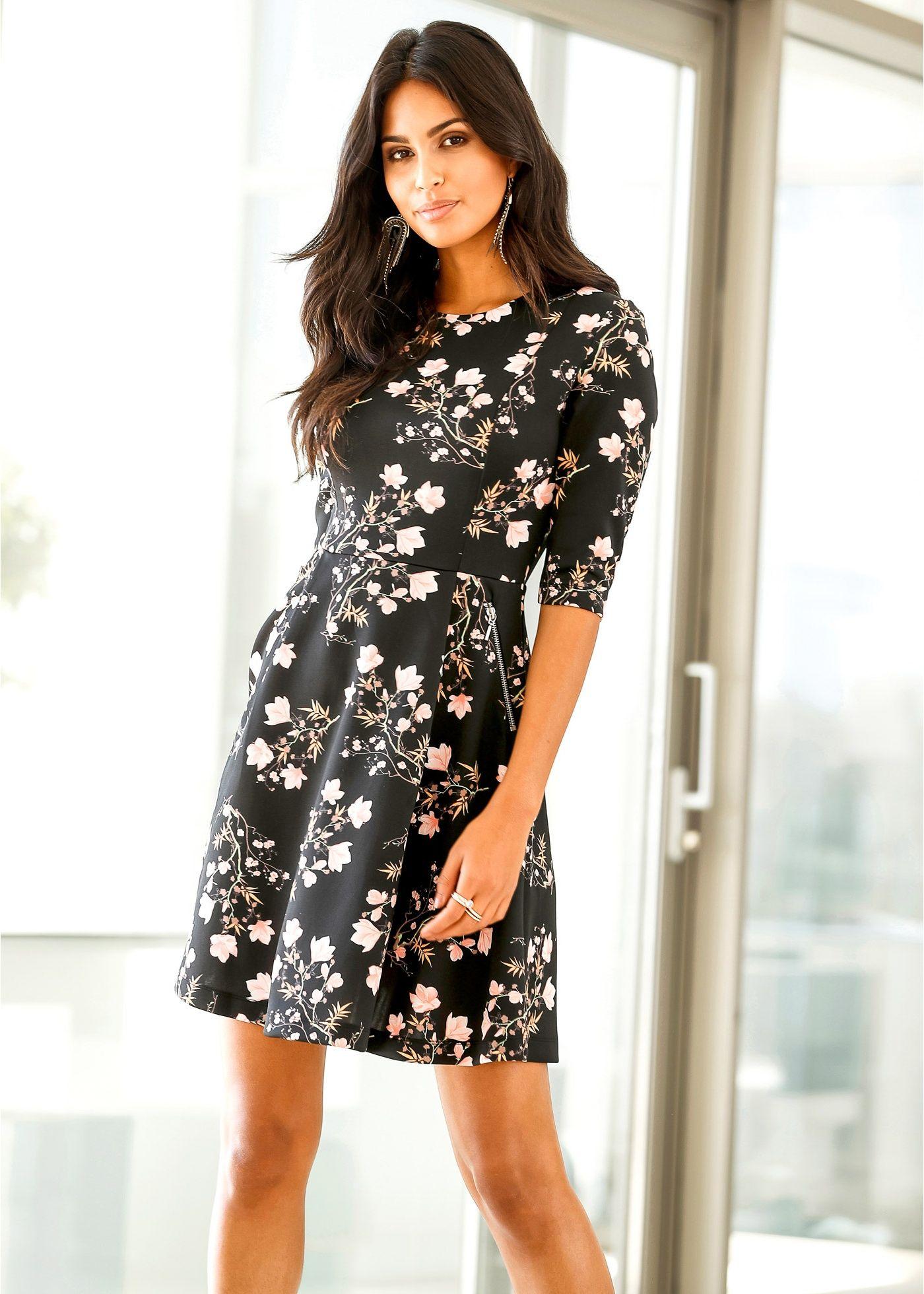 Scuba-Kleid schwarz geblümt - BODYFLIRT jetzt im Online Shop von ...