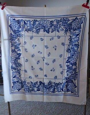 Vintage Blue White Fruits Flour Sack Tablecloth 48 X 52
