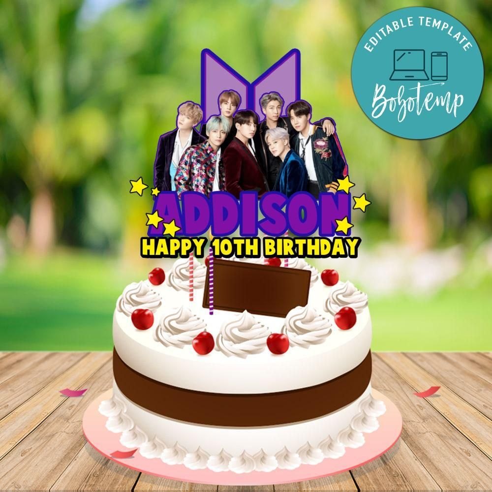 Customizable Bts Birthday Cake Topper Template Instant Download Bts Cake Topper Bts Centerpiece Bts Birthdays Happy Anniversary Cakes Cake Toppers
