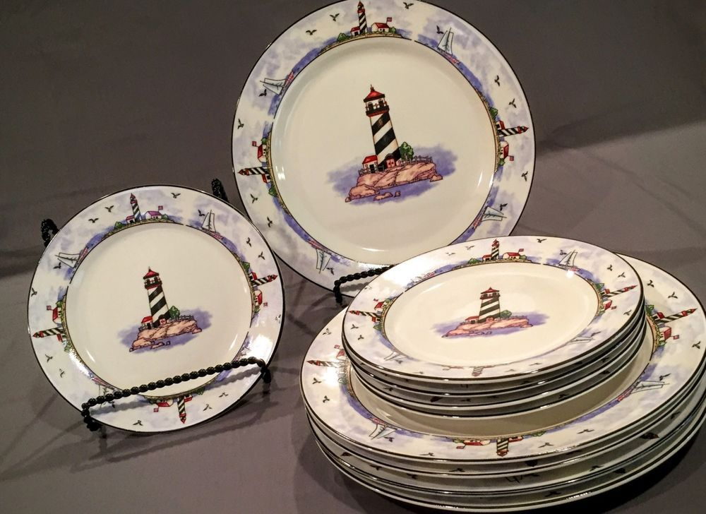 Todays Home Sea Scape Lighthouse Stoneware Dinner Sandwich Plates Set of 10   eBay & Todays Home Sea Scape Lighthouse Stoneware Dinner Sandwich Plates ...