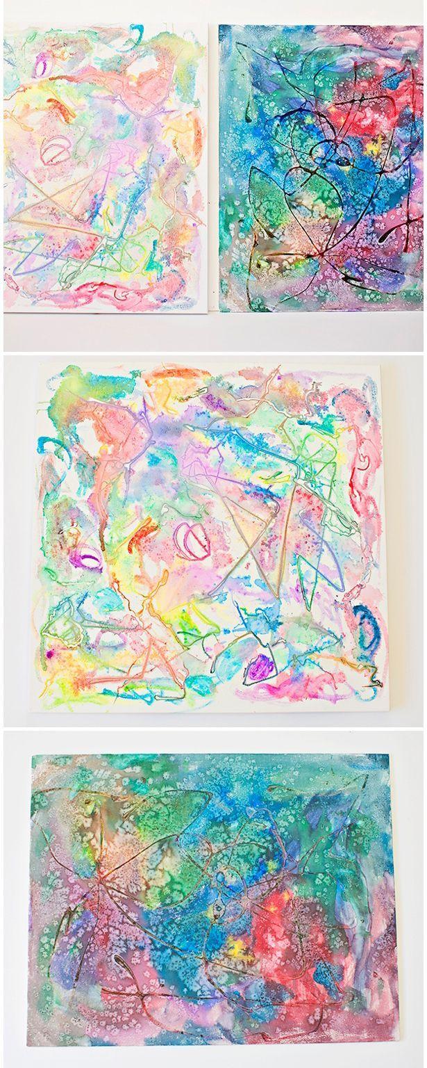 Watercolor Salt And Glue Painting With Kids Preschool Art Art