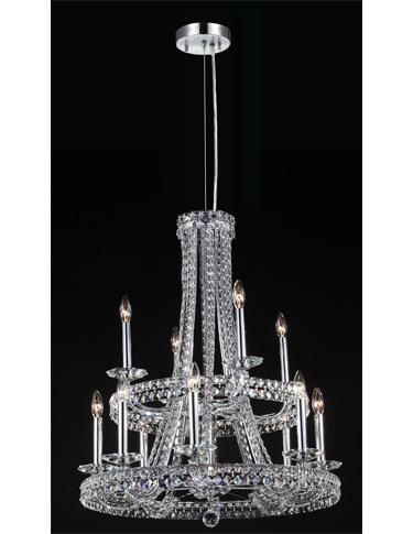 Fixture 96250s22 is a 12 light crystal chandelier with floating crystal bands shown