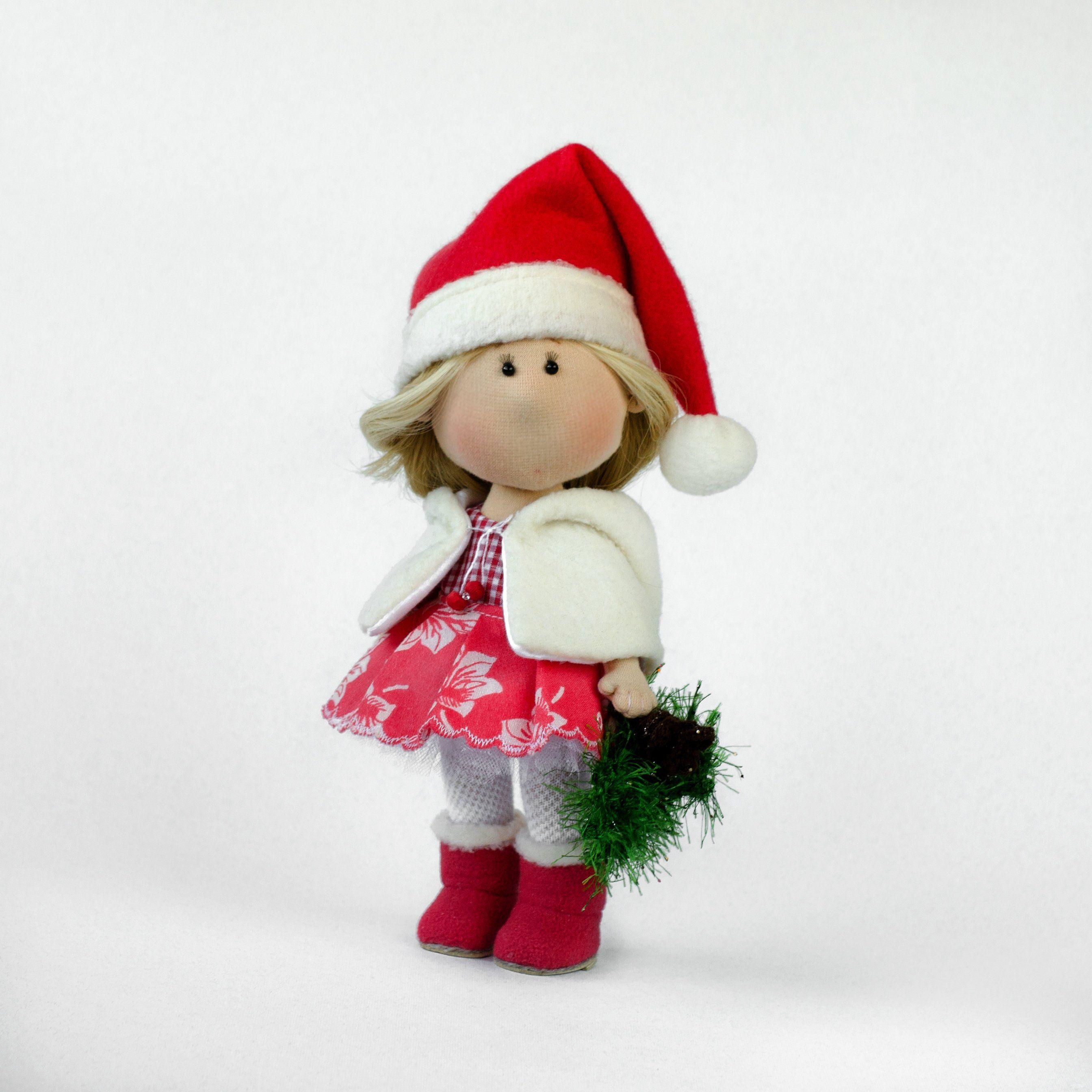 Handmade fabric doll Christmas