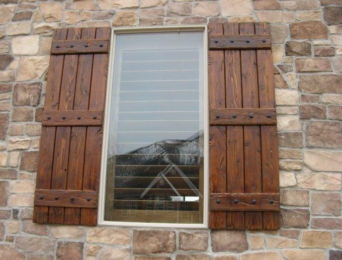 Rustic Exterior Wood Shutters | Exterior | Pinterest | Exterior ...