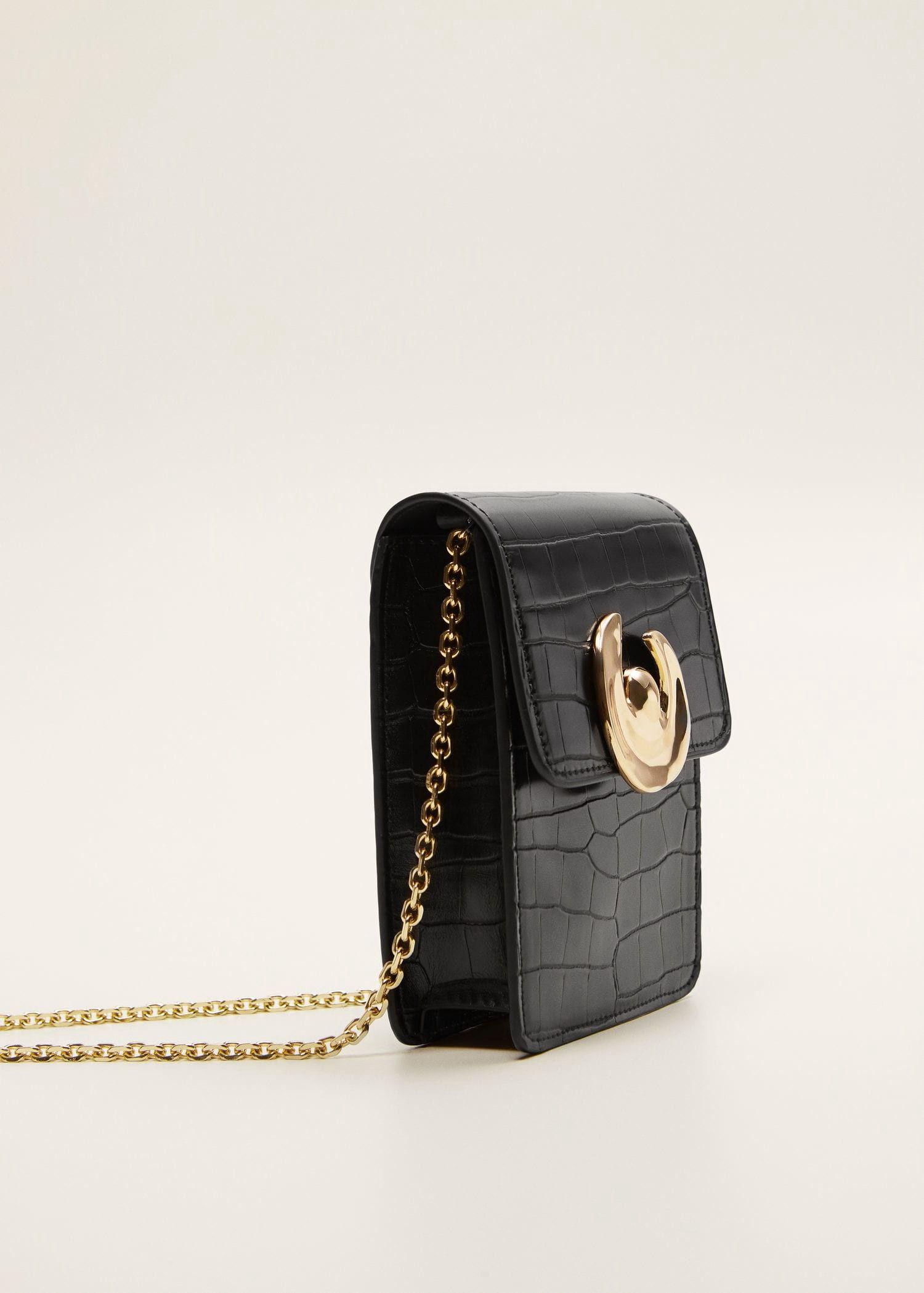 29f19ee8cb Mango Croc-Effect Mini Bag - Black One Size