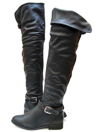 Bota Alta Negra Por Encima De La Rodilla Tacon De 2 5 Cm Bota Alta Negra Zapatos Calzas