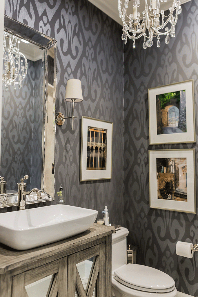 Create A Whole New Look For A Bathroom Using Wallpaper Rustic Powder Room Powder Room Design