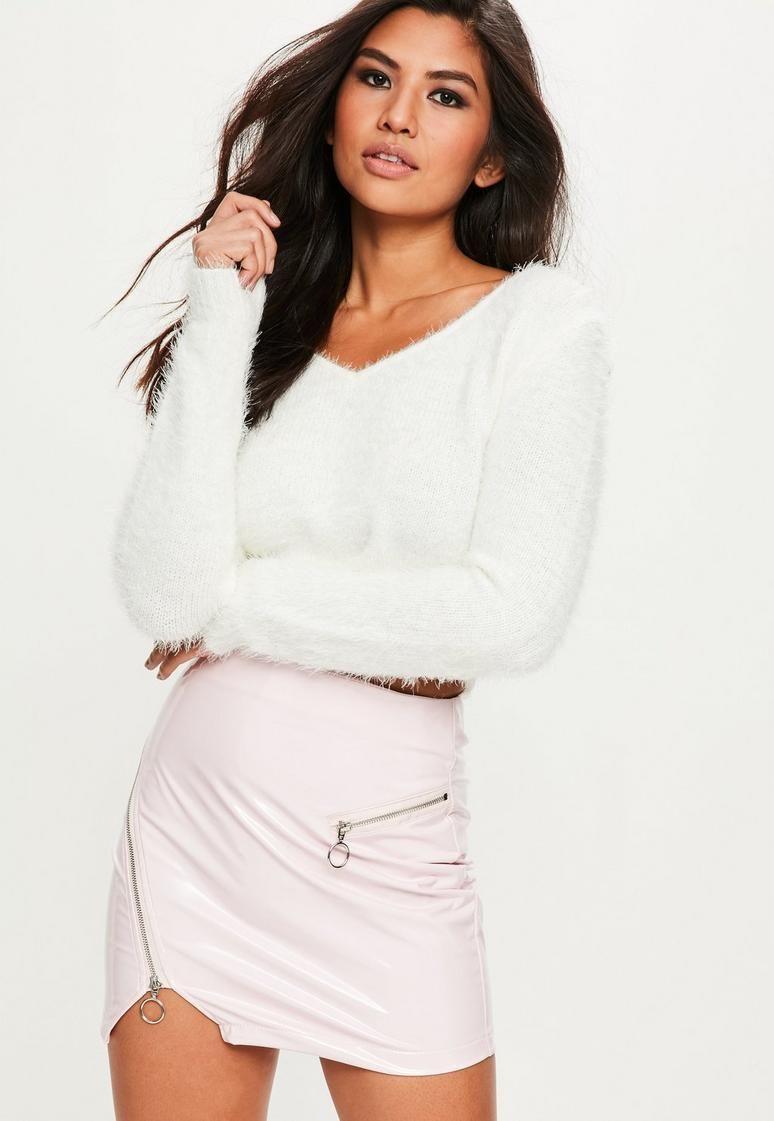 51efeab5a8c White Fluffy V Neck Jumper | Clothes | Fashion, Fluffy sweater ...