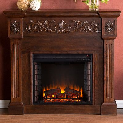 Carved Electric Fireplace Elegant Mantel Style w// Floral Trim Remote Control