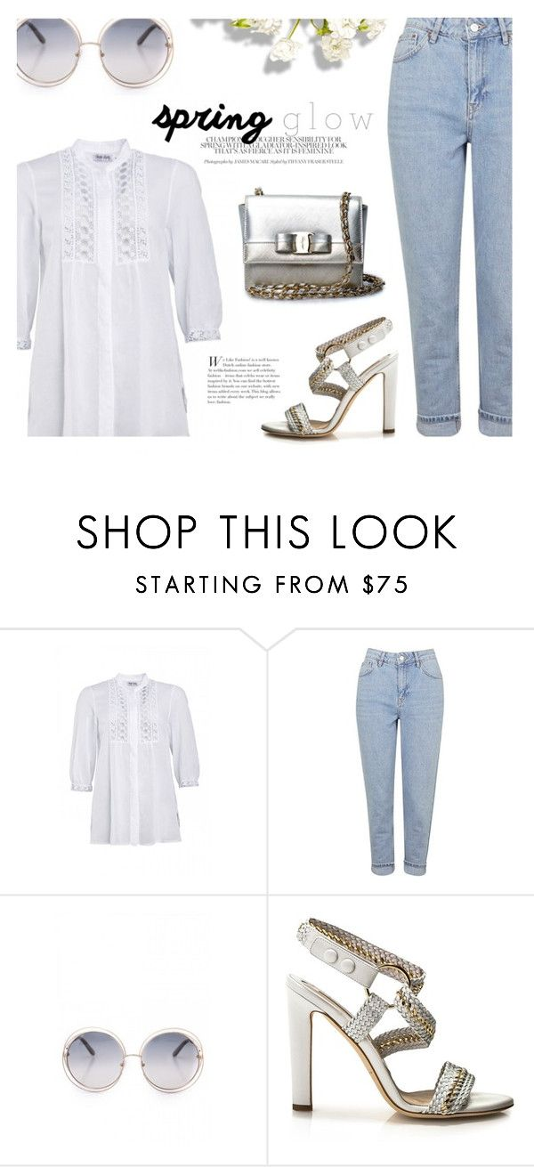 """""""Spring Glow"""" by firstboutique ❤ liked on Polyvore featuring Topshop, Brian Atwood, Salvatore Ferragamo and white"""
