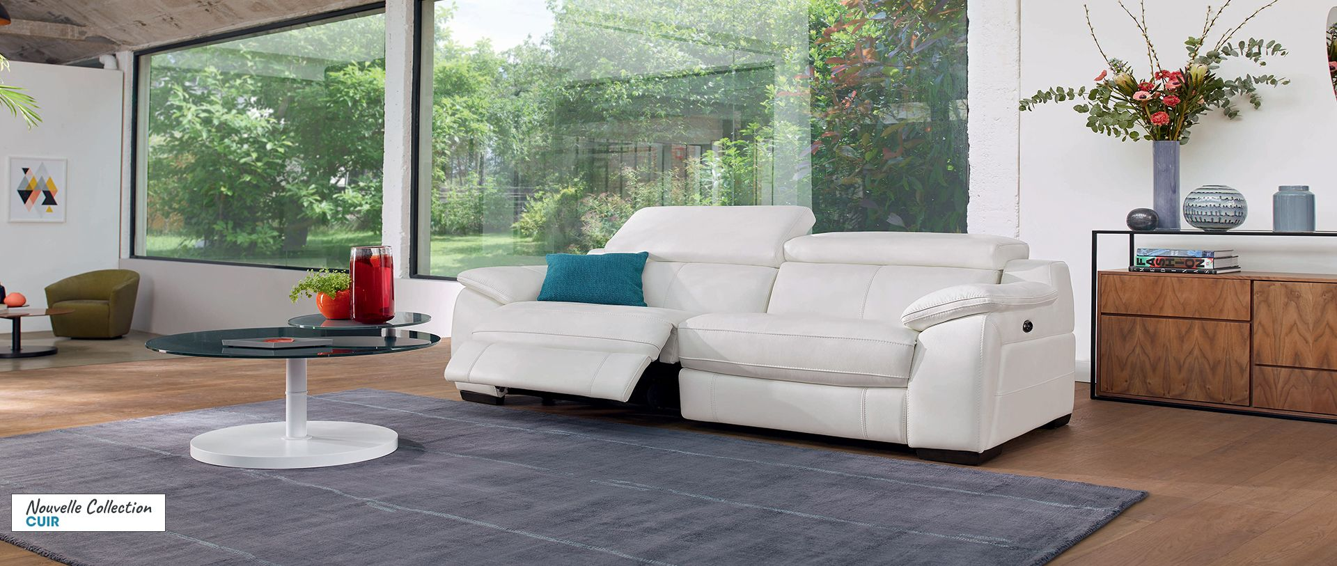 Canape Relaxation 3 Places Freedom En Cuir Canape Angle Blanc Canape Angle Canape Cuir Relax
