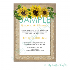 Rustic Sunflower Wedding Invitation Template Free Sample