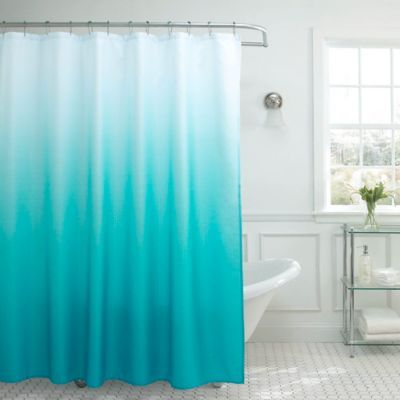 Ombre Weave Shower Curtain In Turquoise In 2020 Ombre Shower Curtain Shower Curtain Sets Fabric Shower Curtains