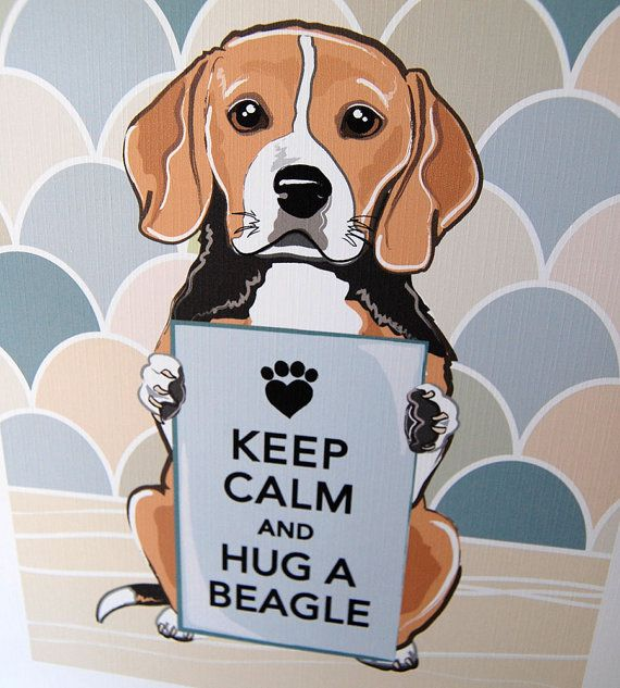Keep Calm Beagle With Khaki Gray Scaled Background 7x9 Eco
