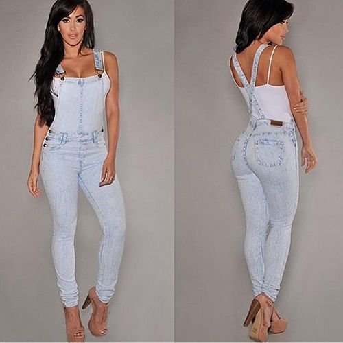 2016 New Arrival Women Sexy Slim Fit Baggy Loose Jeans Denim Overalls Pants  Jumpsuit Rompers 08WG