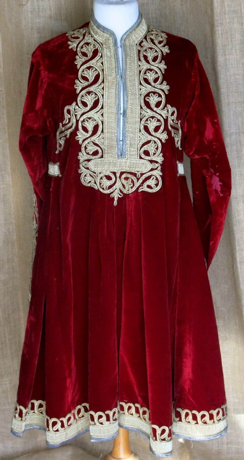 Antique, circa 1930's, red velvet Hazara dress with metallic gold lace. [$2,250.00]