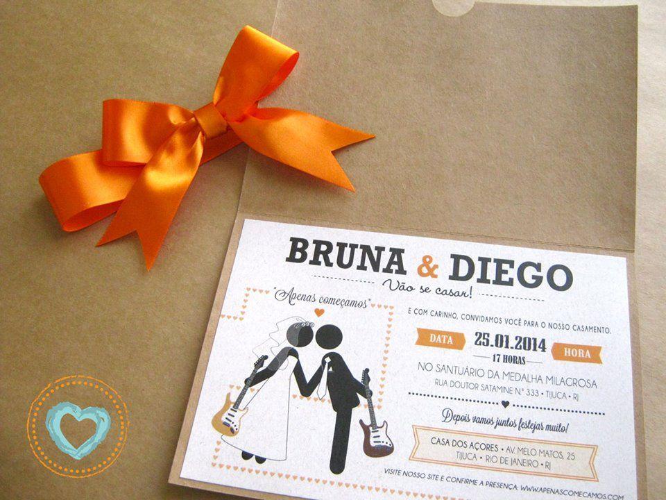 Convite impresso em papel Reciclado e lindo laço laranja.