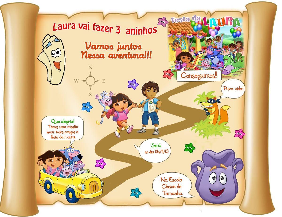 Convite Mapa Dora Aventureira Para Imprimir