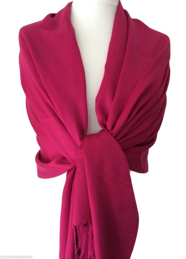 9027e49ad A large cerise pink pashmina wrap beautiful and soft with fringing to the  ends Measurements approx 80 inch 200 cm in length and 27 inch 67 cm in