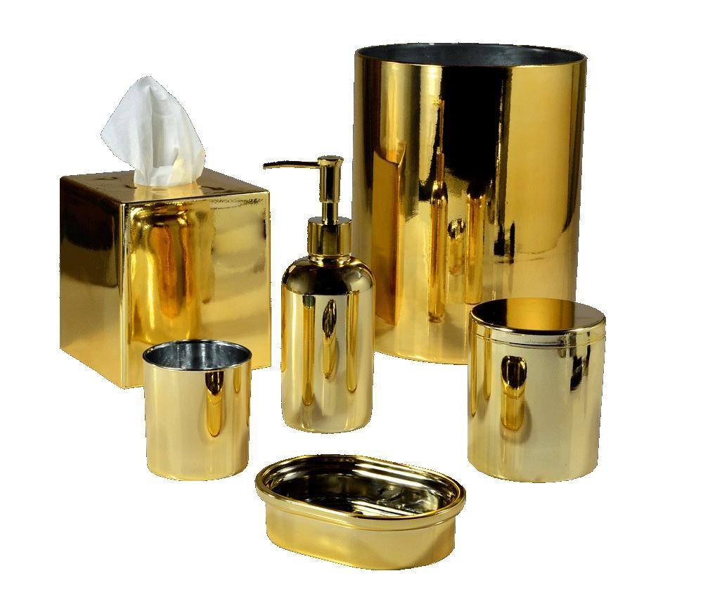 Mike And Ally Nova Glass Bath Accessories Gold Bath