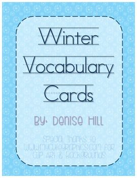 Winter Vocabulary Cards Word WallsVocabulary