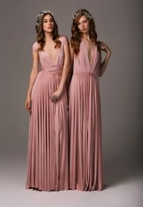 Old Rose Dusky Vintage Pink Multi Wrap Infinity Maxi Bridesmaid Occasion Dress