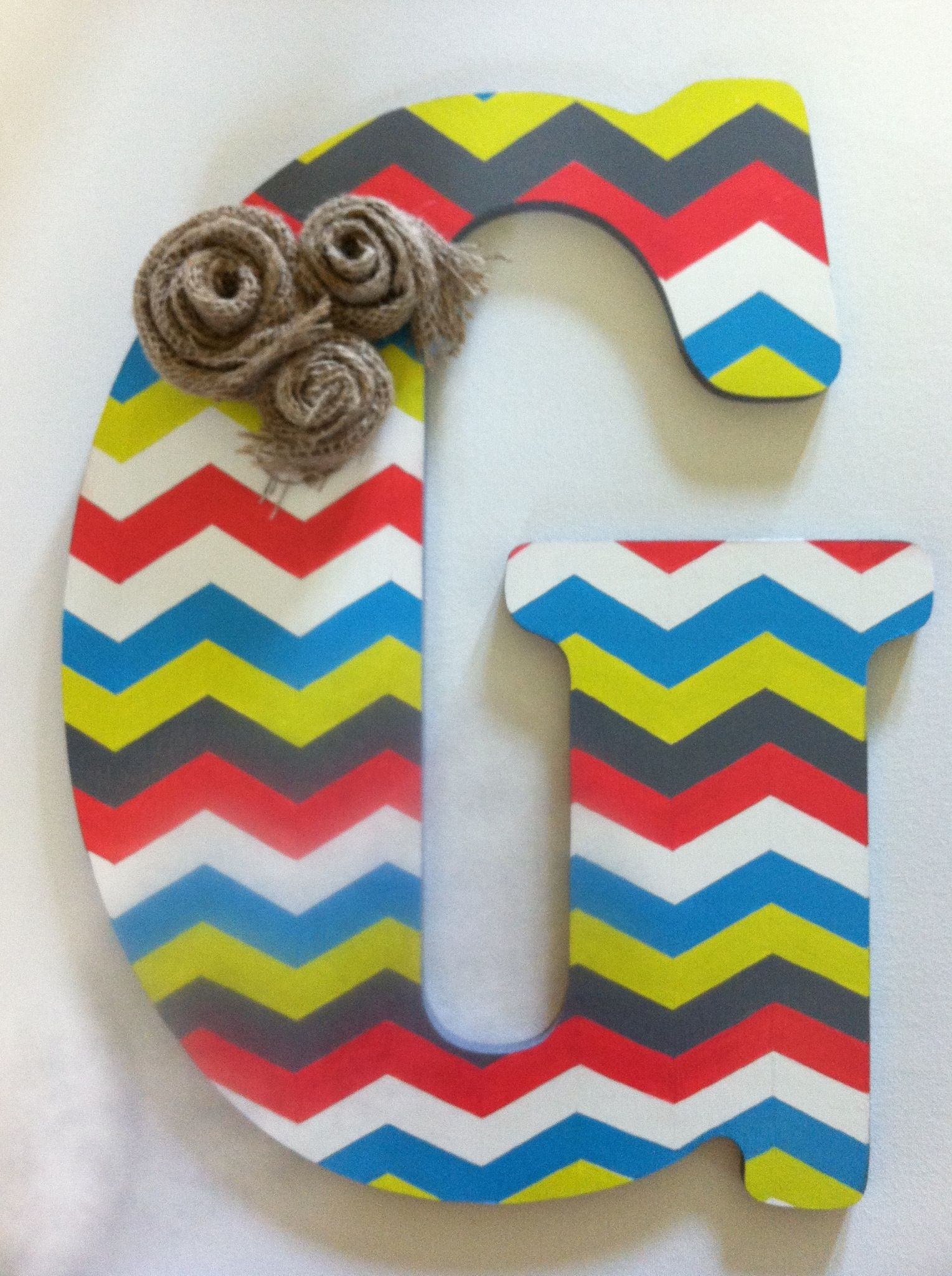 big wood letter from hobby lobby i painted for front door in chevron print and then