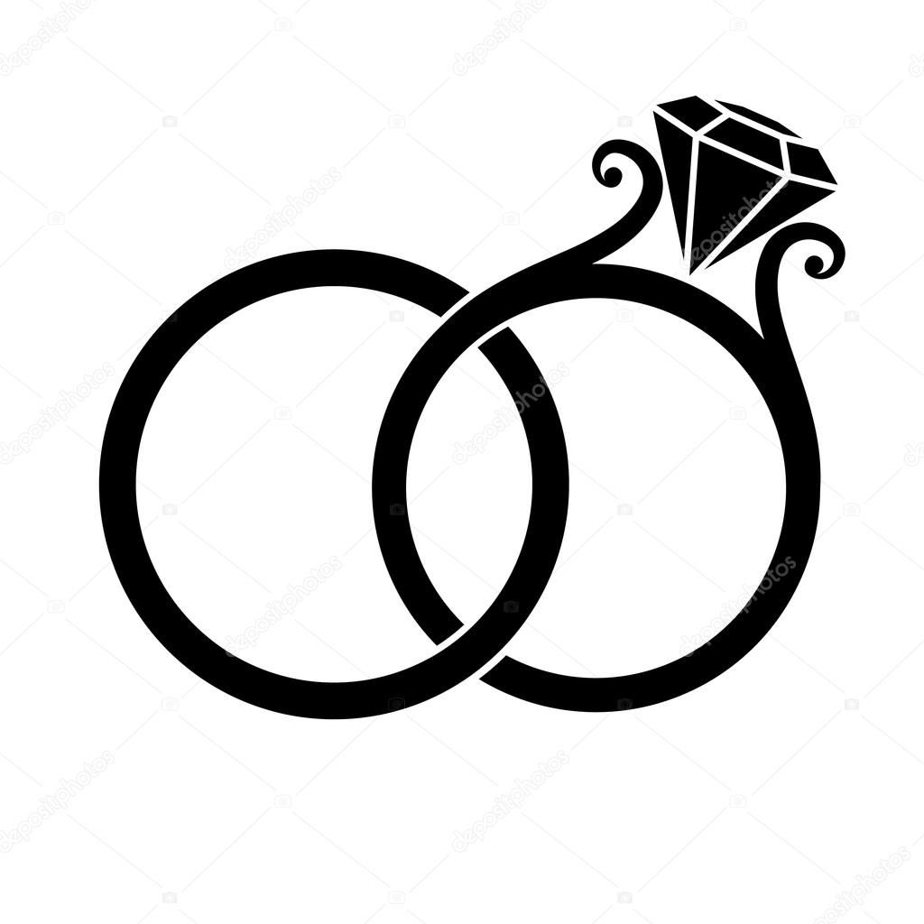 Wedding Rings With Diamond Black Silhouette On A White Background Wedding Ring Drawing Wedding Rings Marriage Ring