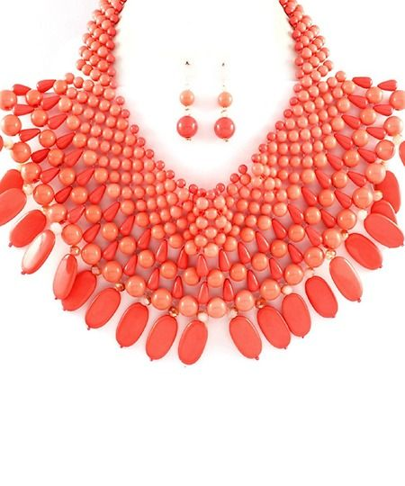 Chunky Coral Oversized Beaded Statement Necklace Set