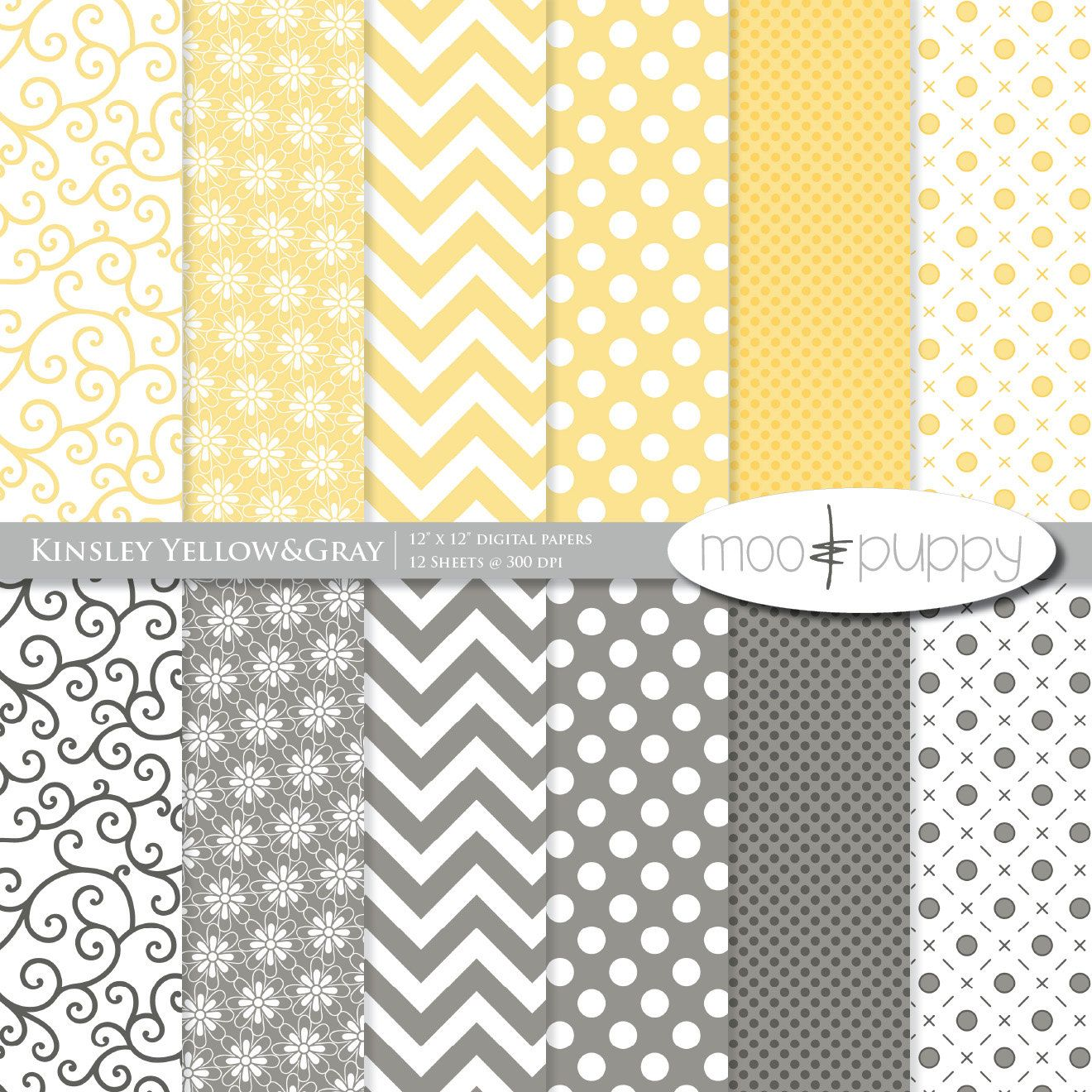 Scrapbook paper etsy - Yellow Digital Scrapbooking Paper Pack Kinsley Yellow And Gray Buy 2 Get 1 Free