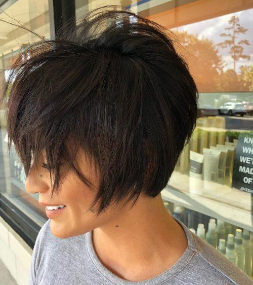 18 Best Short Dark Hair Color Ideas Of 2020 In 2020 Short Hair With Bangs Hairstyles With Bangs Short Dark Hair