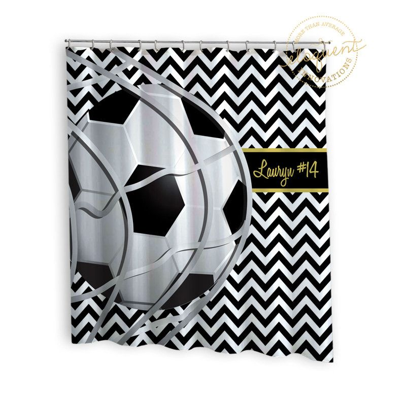 Soccer Shower Curtain Sports Chevron Black White With Gold
