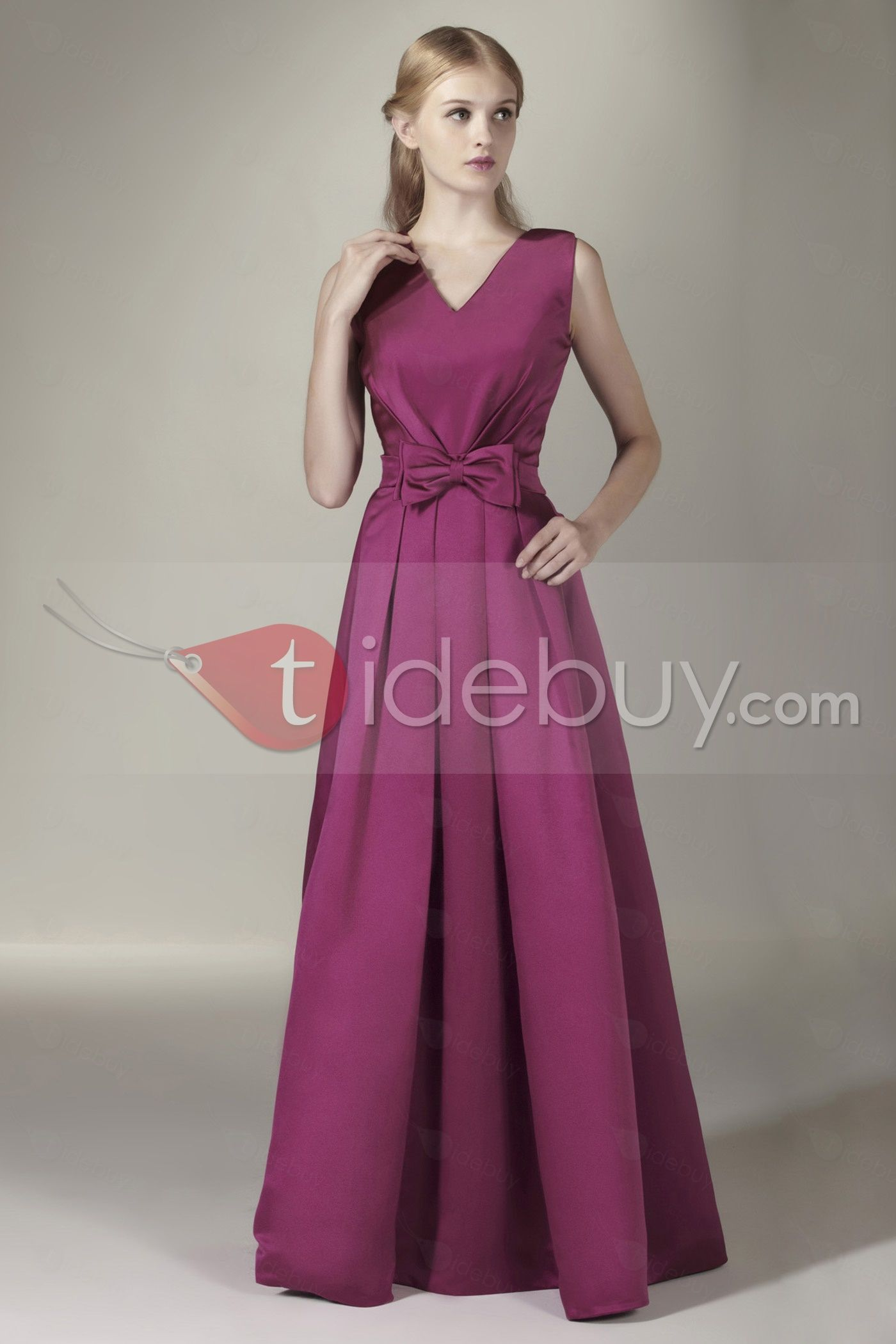 Enchanting Bowknot A-Line V-Neck Floor-Length Sasha\'s Bridesmaid ...