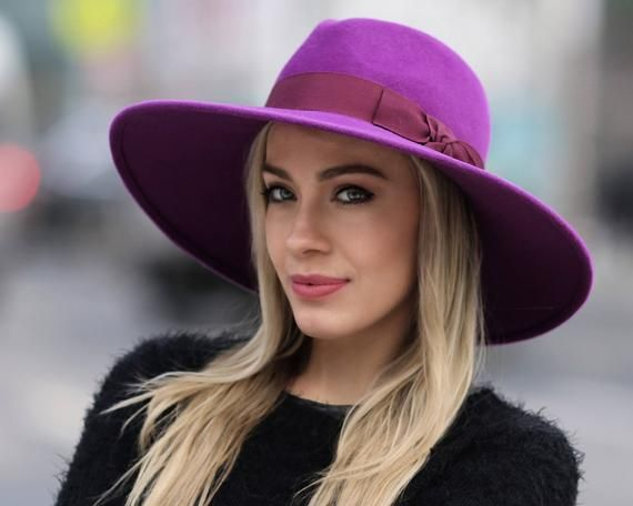 65090308ce6 Purple Fedora Hat Women s Hat Fall Fashion Wide Brim Boho Hat Felt Fedora  Hat Red Hat Violet Hat Ult
