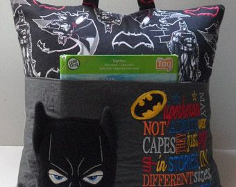 Pocket pillow, reading pillow with batman and reading saying