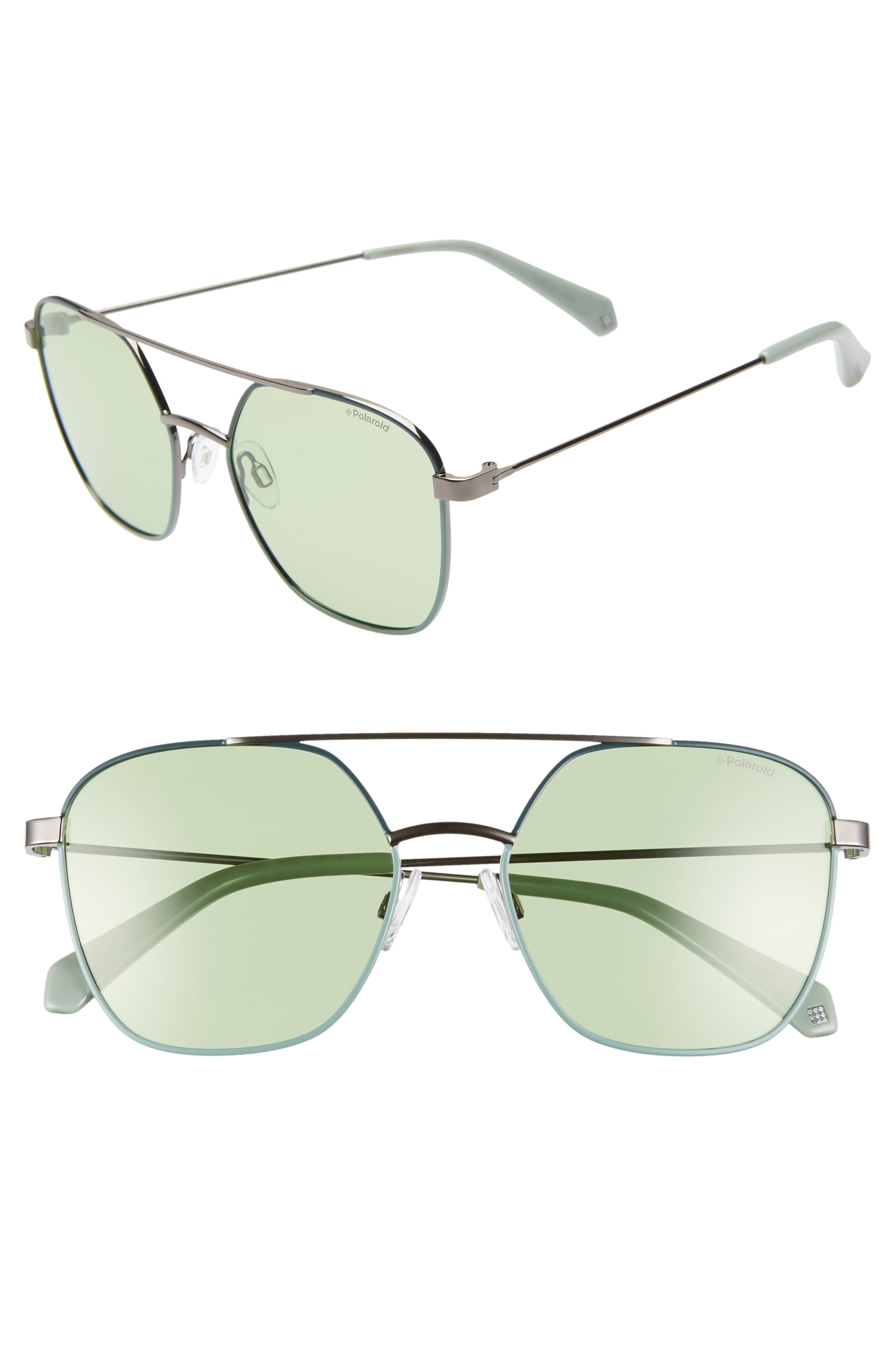 130721ff1 Polaroid Eyewear 56mm Polarized Square Aviator Sunglasses in 2019 ...
