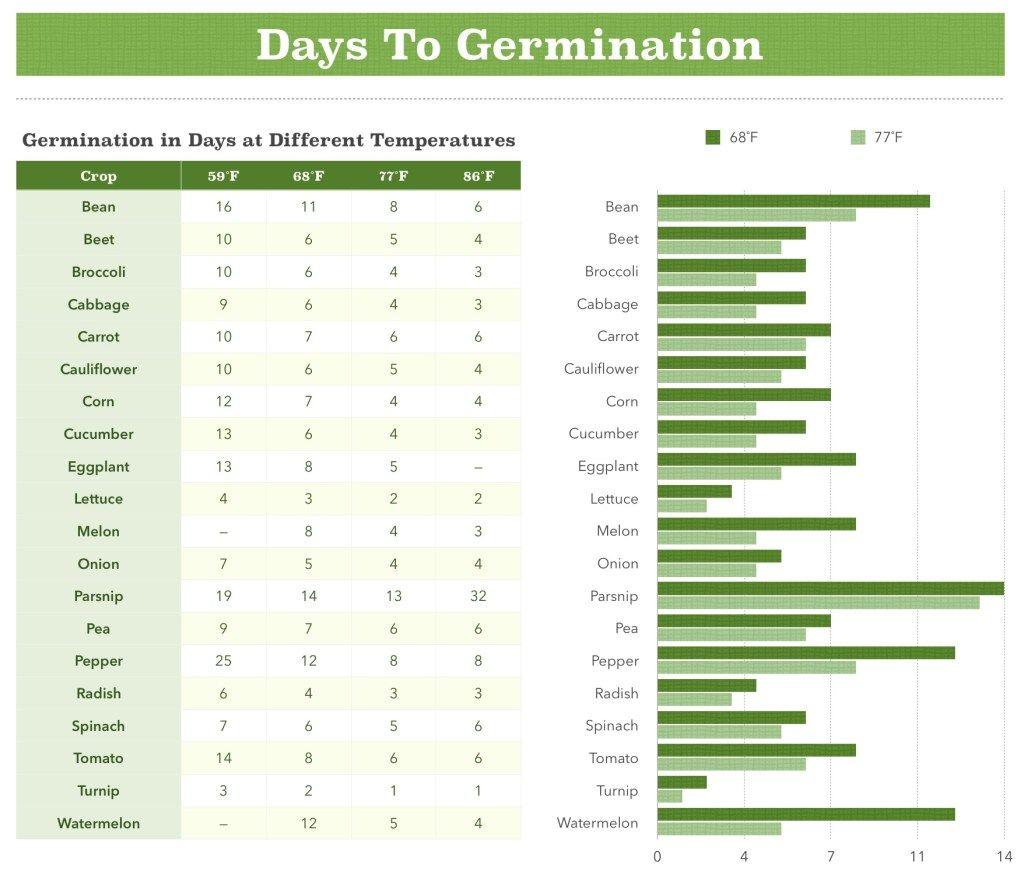 Days To Germination Chart Seed Germination Germination Seeds