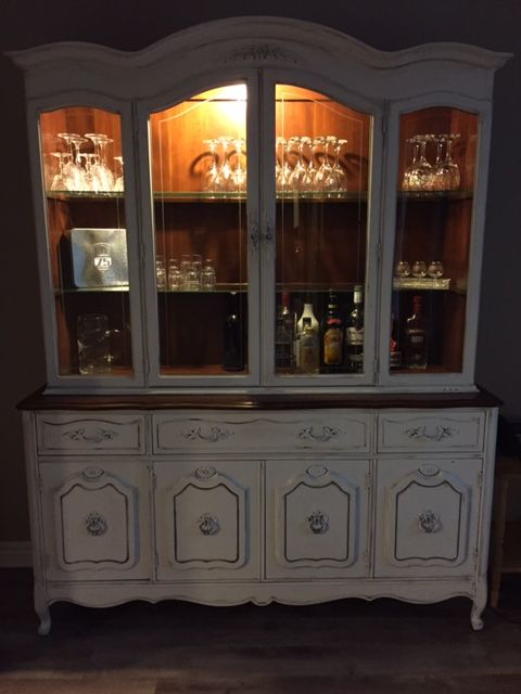 Refinished Rustic Hutch Liquor Cabinet