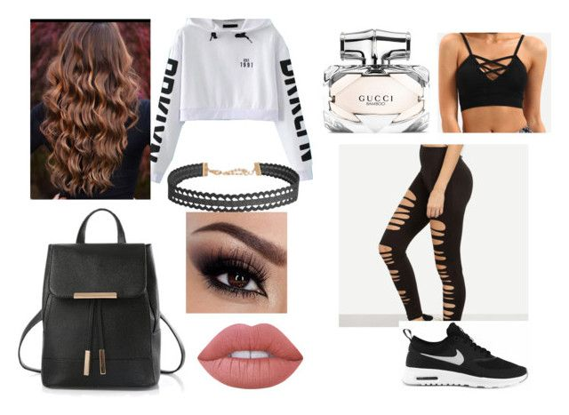 """""""Off to the Gym ;)"""" by aisha-567 on Polyvore featuring NIKE, Humble Chic, Gucci and Lime Crime"""