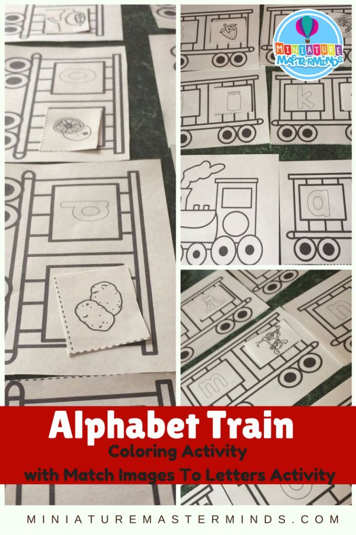 Printable Coloring Pages Preschool Alphabet Train Activity Match Images To Letters is part of Alphabet preschool - Printable Coloring Pages Preschool Alphabet Train Activity This is a printable alphabet train set with a letter to image matching activity included  This project was actually my mom's idea as I was discussing with her my 25 days of Christmas project and was running a little short of ideas  She suggested doing a train and   Read More