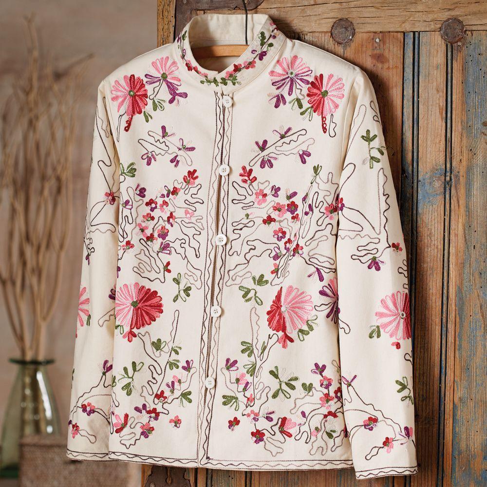 Silk Peach Floral Dinner Long Jacket Kashmir Hand Embroidered