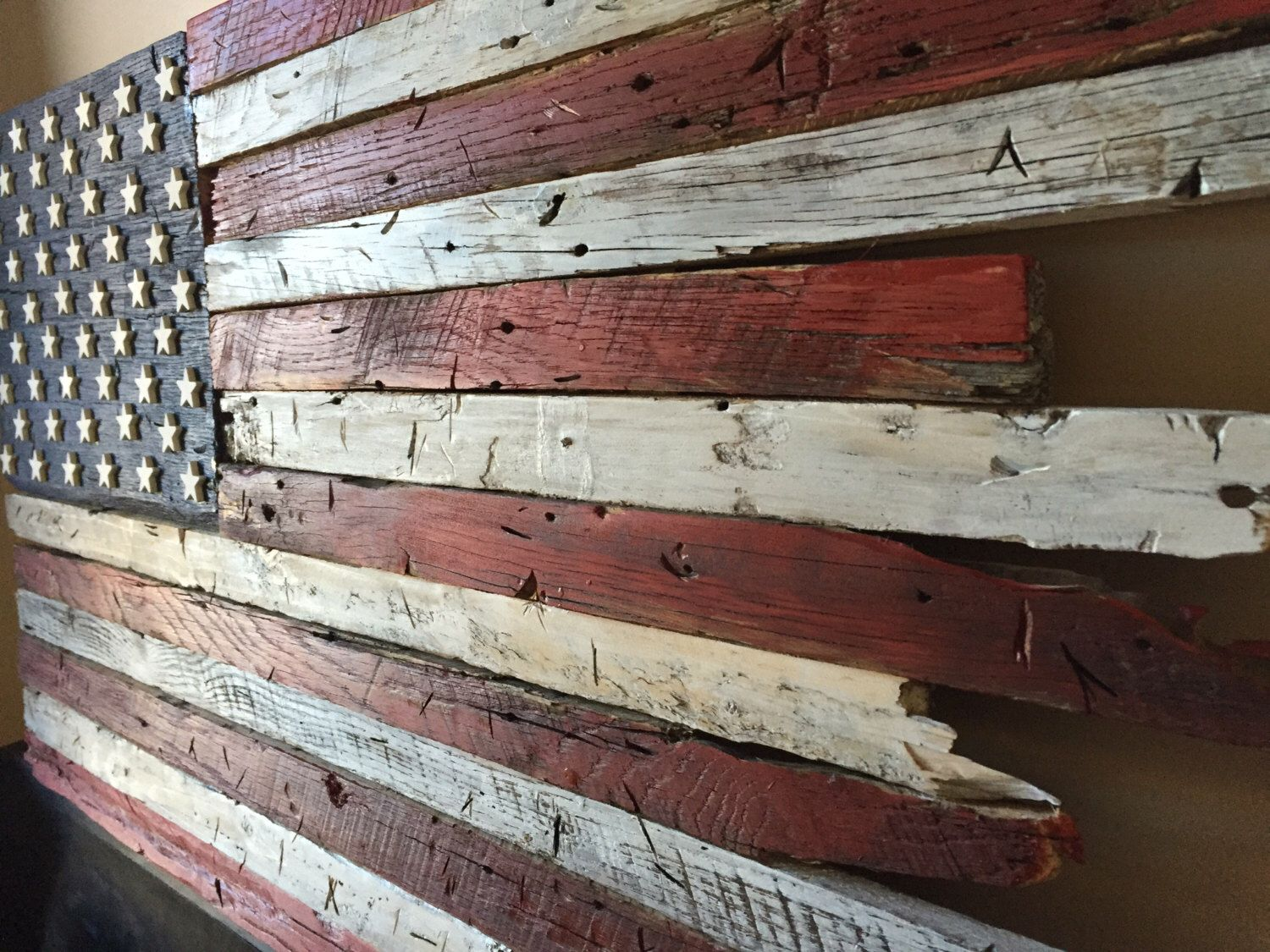Wooden Flag Barn Wood Rustic American By CustomHeritage On Etsy