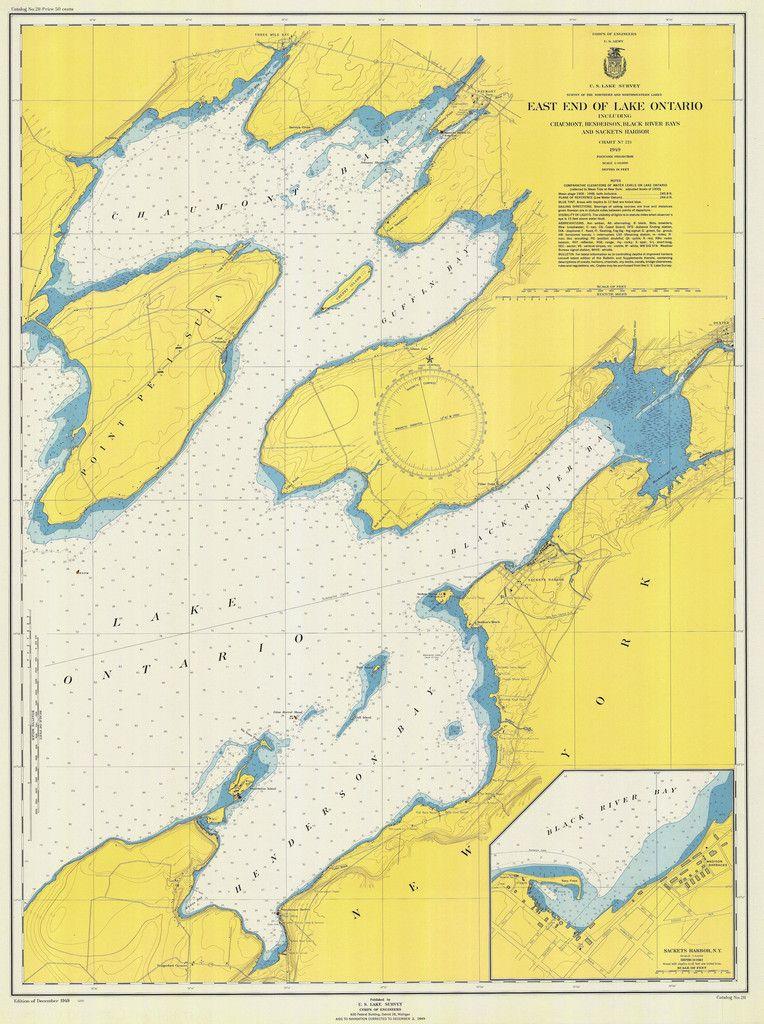 Lake Ontario - East End Historical Map - 1949 | Maps | Pinterest ...