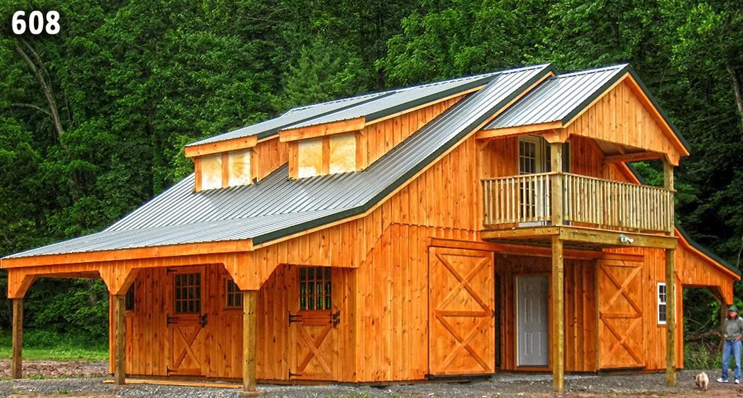 34x24 high profile modular barn with 2nd floor living for Horse barn with apartment plans