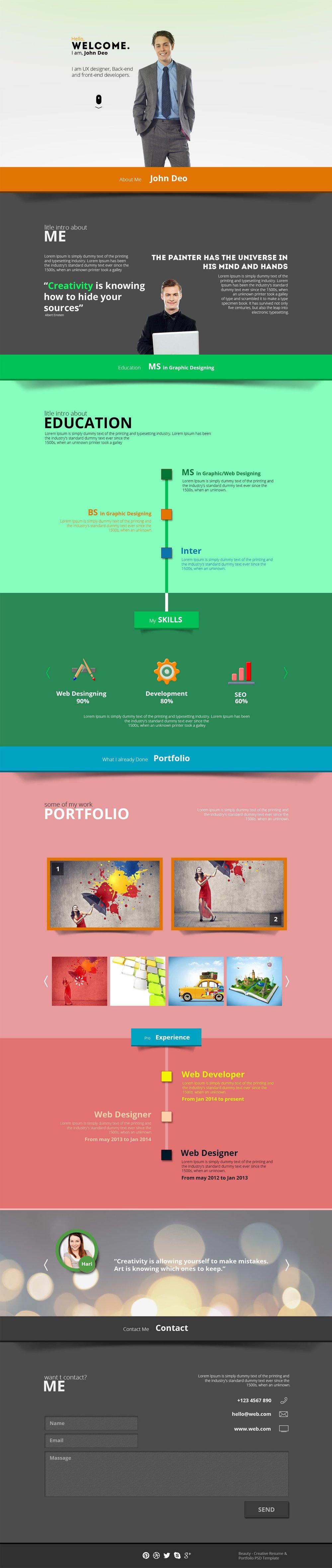 Free Portfolio Website Templates (PSD Portfolio website