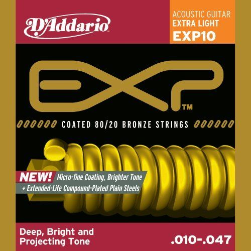 D Addario Exp10 Coated Acoustic Guitar Strings 80 20 Extra Light 10 47 By D Addario 10 20 Acoustic Guitar Strings Electric Guitar Strings Guitar Strings